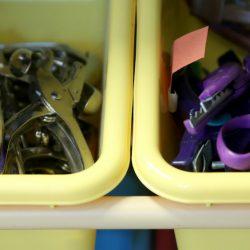 supplies in bins