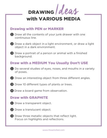 https://artofed-uploads-prod.nyc3.cdn.digitaloceanspaces.com/2017/03/Drawing-Ideas-with-Various-Media-2.pdf