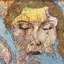 woman's face on map