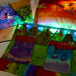 LEDs lighting up artwork