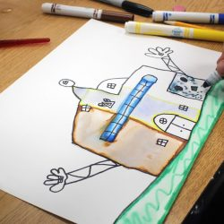 student marker painting