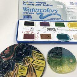 watercolor underglaze