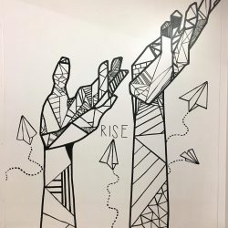 tape mural of two hands