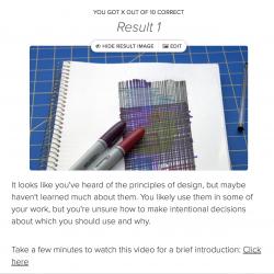screenshot of quiz program