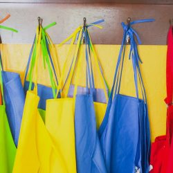 colorful art aprons