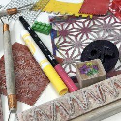 assortment of art materials