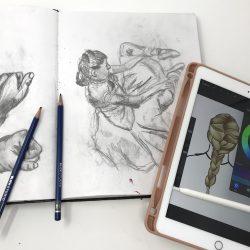 art on iPad next to drawing