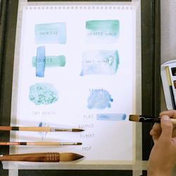 paper showing watercolor techniques