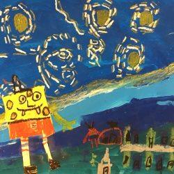 Image of student artwork with sponge bob