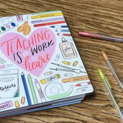 Teacher planner and pens