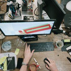 Desktop with computer