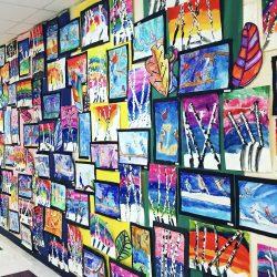 artwork on display in hallway