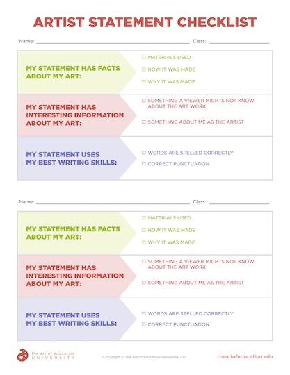 https://artofed-uploads-prod.nyc3.cdn.digitaloceanspaces.com/2020/09/77.1ArtistStatementChecklist.pdf