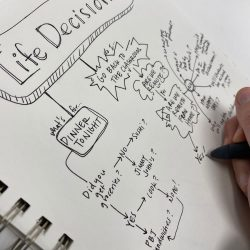 teacher writing in notebook