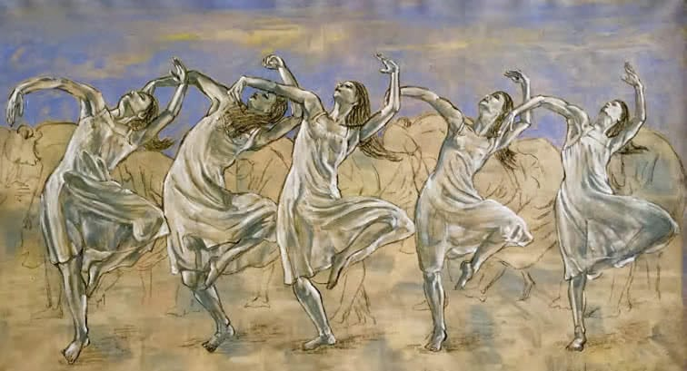 "five dancing women in ""Le Sacre du Printemps"" by Wolfgang Beltracchi"