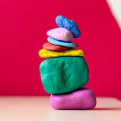 stacked rainbow rocks
