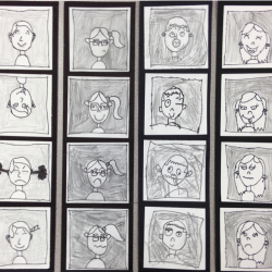small square portrait drawings