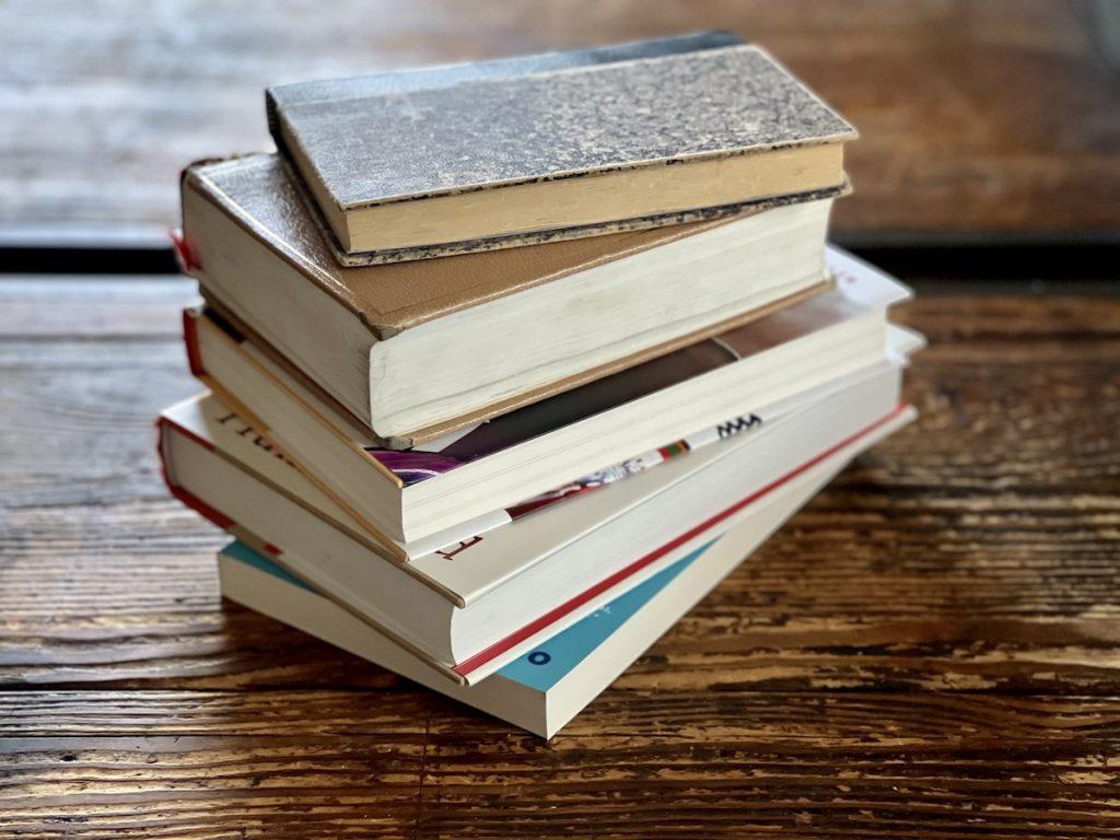 stack of older books