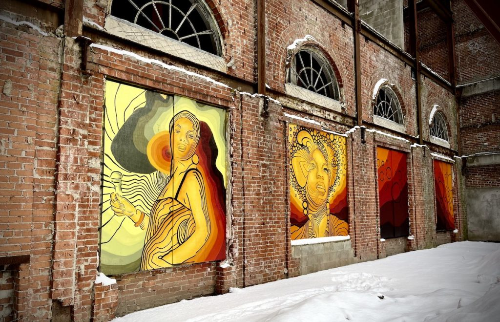murals on the side of a building
