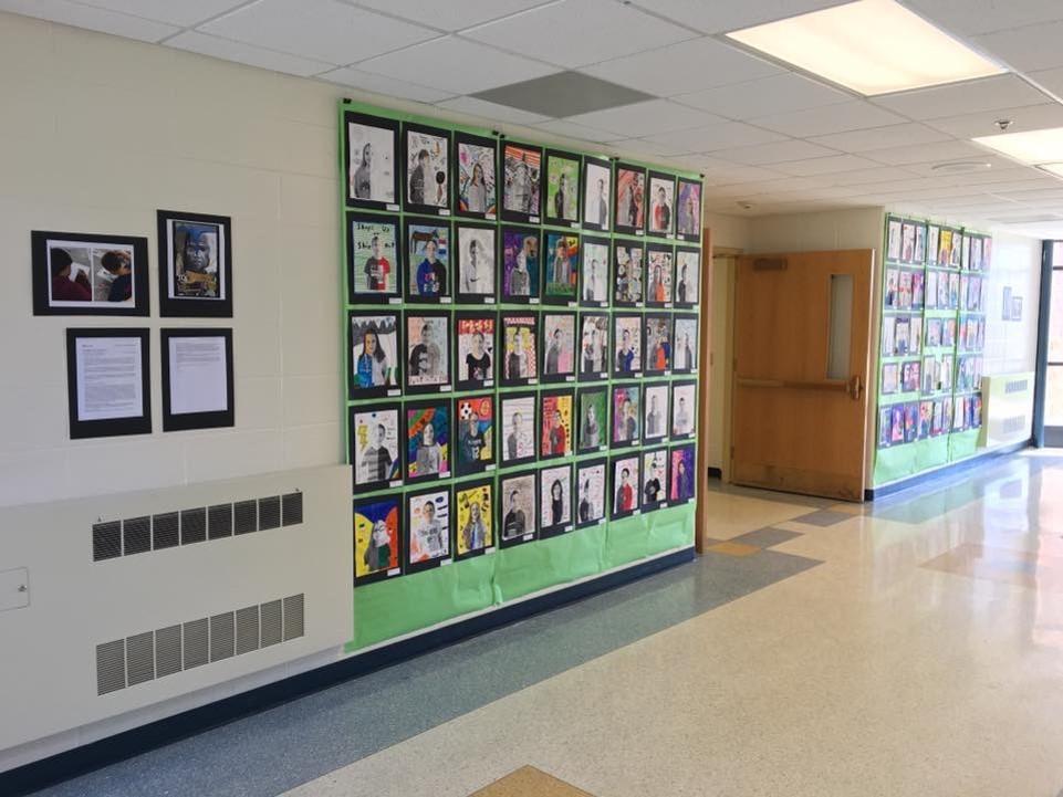 student artwork on display in hallway