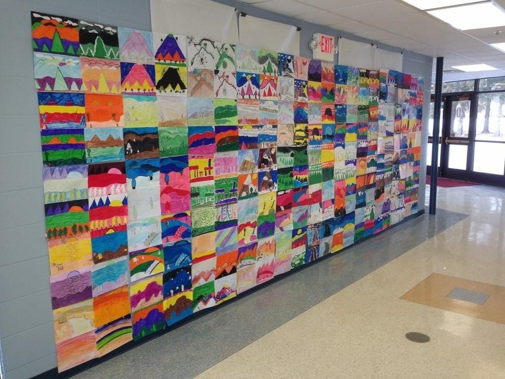 student artwork display in hallway