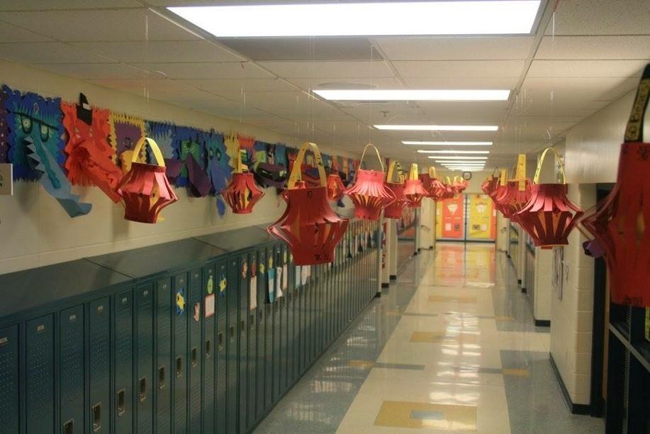 paper lanterns on display in hallway