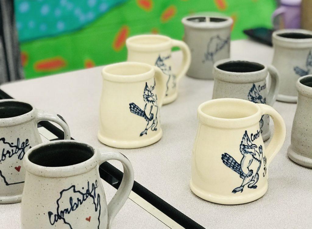 ceramic mugs created by artist