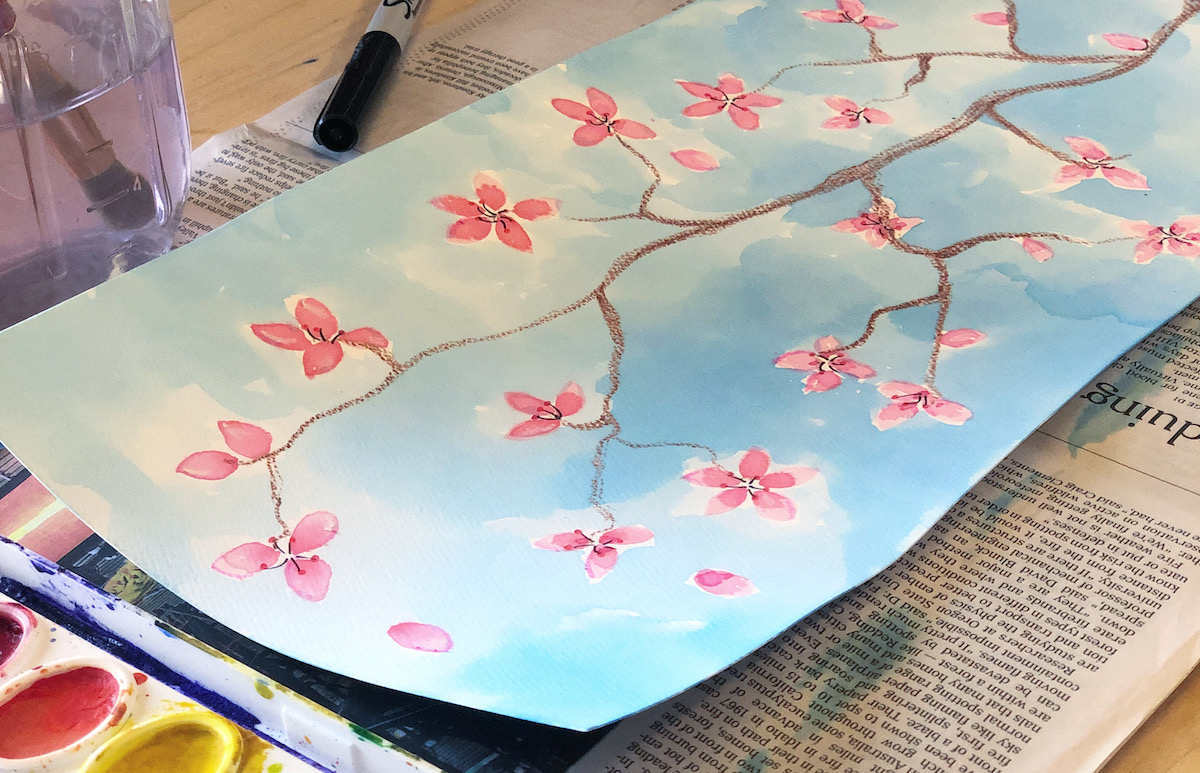 painting of cherry blossoms