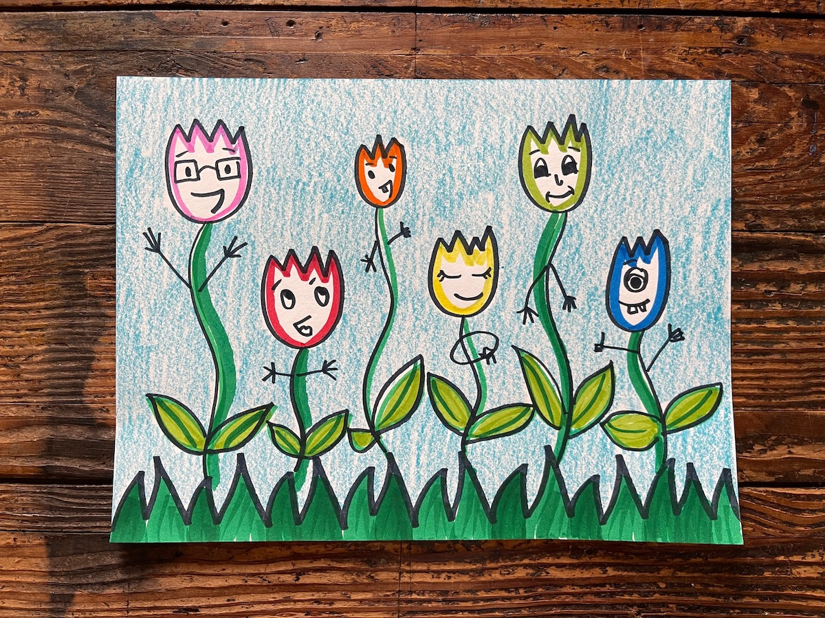 illustrated tulips dancing