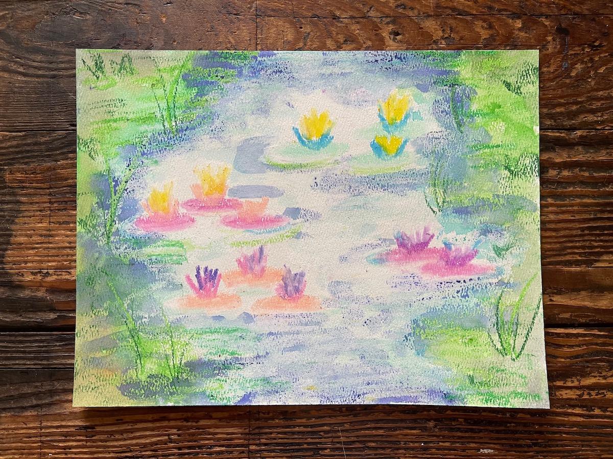 waterlilies painted on paper