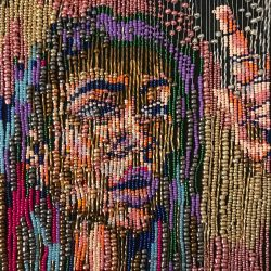student portrait made of beads