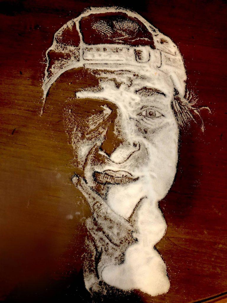 self portrait with salt on a table