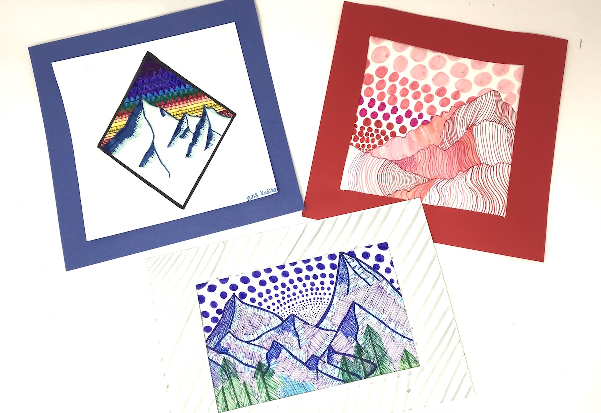artwork with abstracted mountainscapes