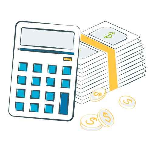 illustration of calculator and stack of money and coins