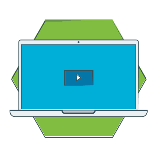 green hexagon with illustrated laptop playing a video