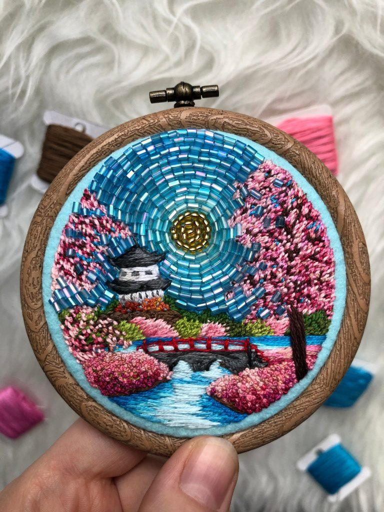Blooming Sakura, hand embroidered landscape art