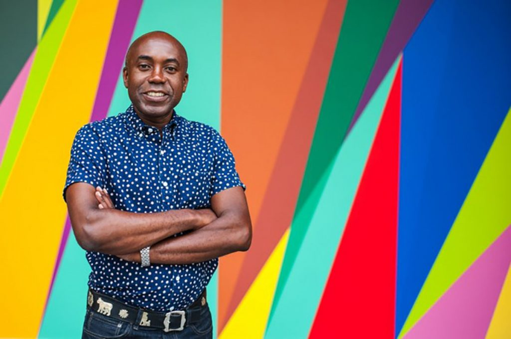 odili donald odita with his painting