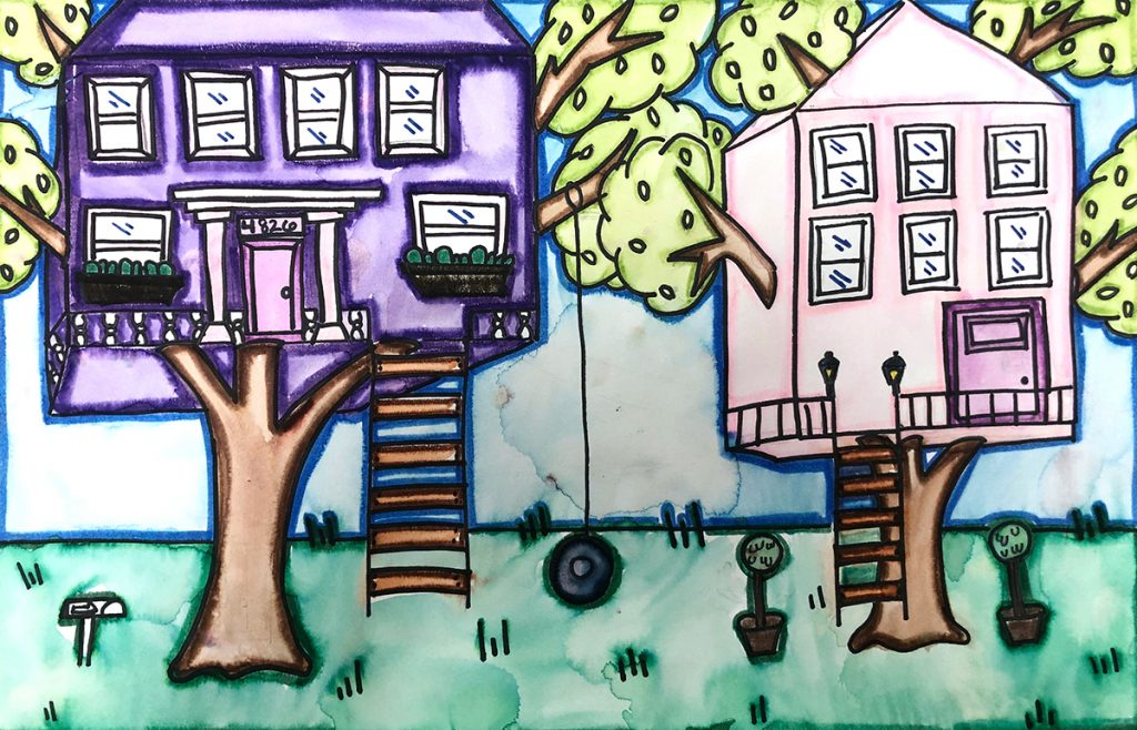 treehouse student artwork with waterbased markers