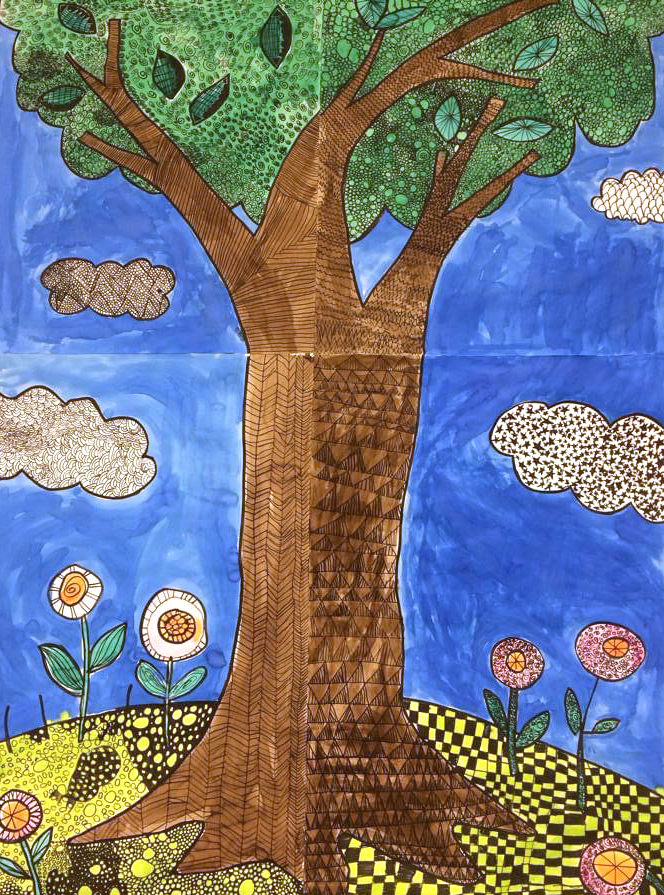 tree with black marker patterns and filled with color