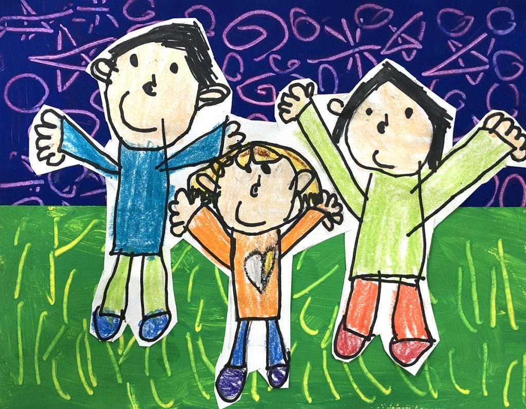 drawing of three family members with grass and sky