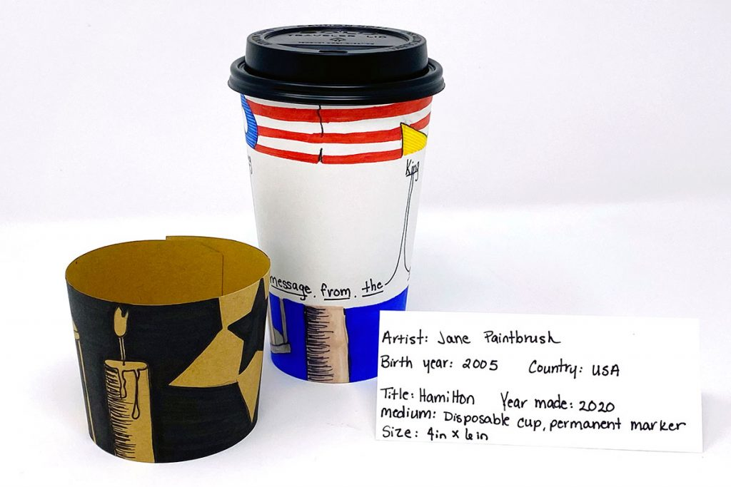 student exemplar using a disposable coffee cup with drawings and paintings