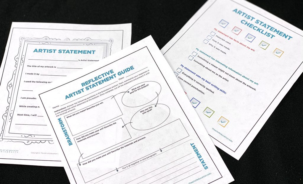 blank artist statement worksheets