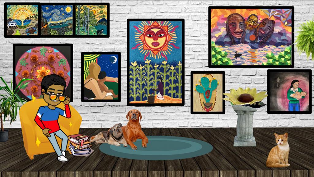 slide of student virtual exhibit with artworks, bitmoji, animals