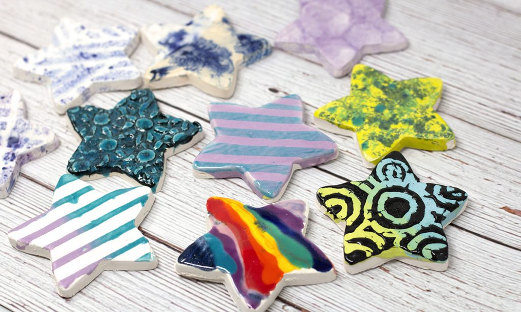 ceramic stars with variety of glaze techniques