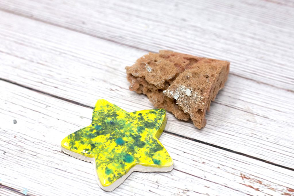 yellow and green ceramic star with sponge