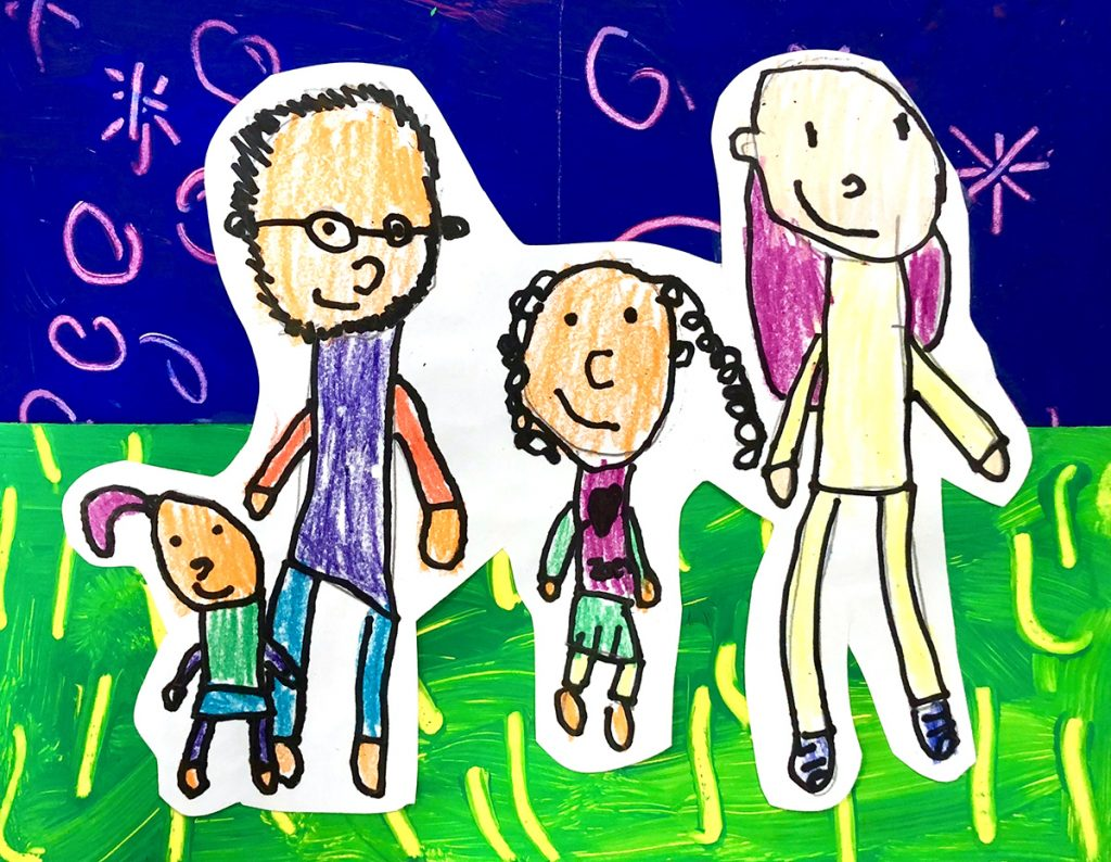 drawing of four family members with grass and sky