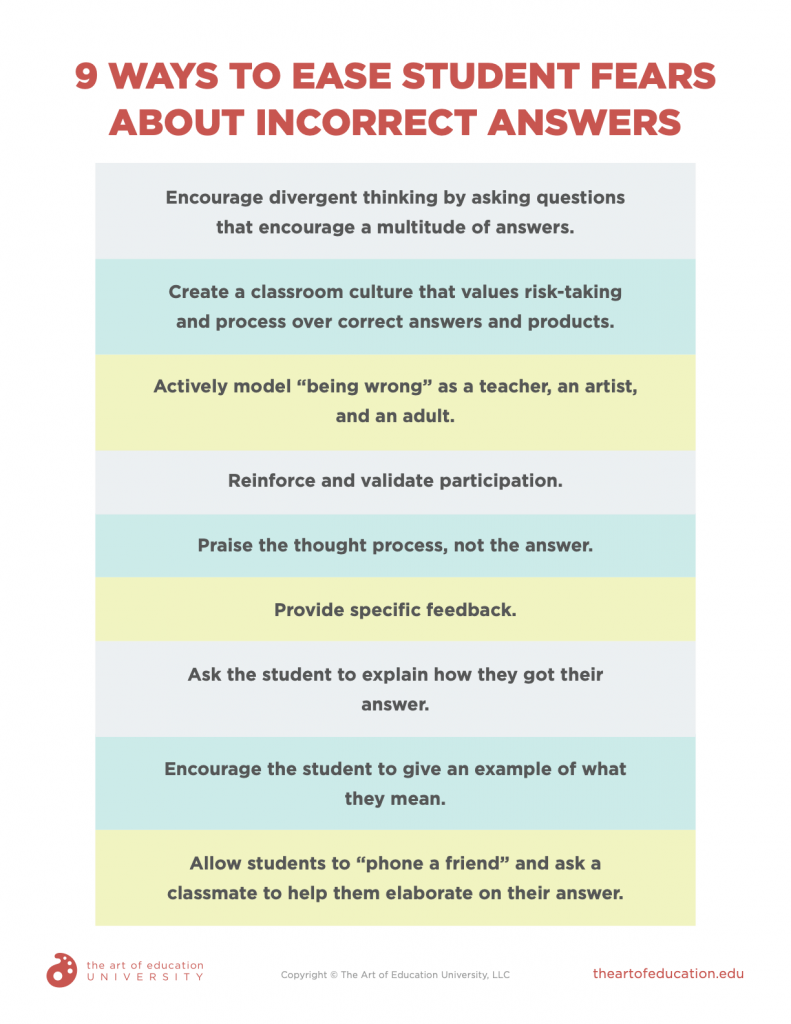 downloadable resource 9 ways to ease student fears about incorrect answers