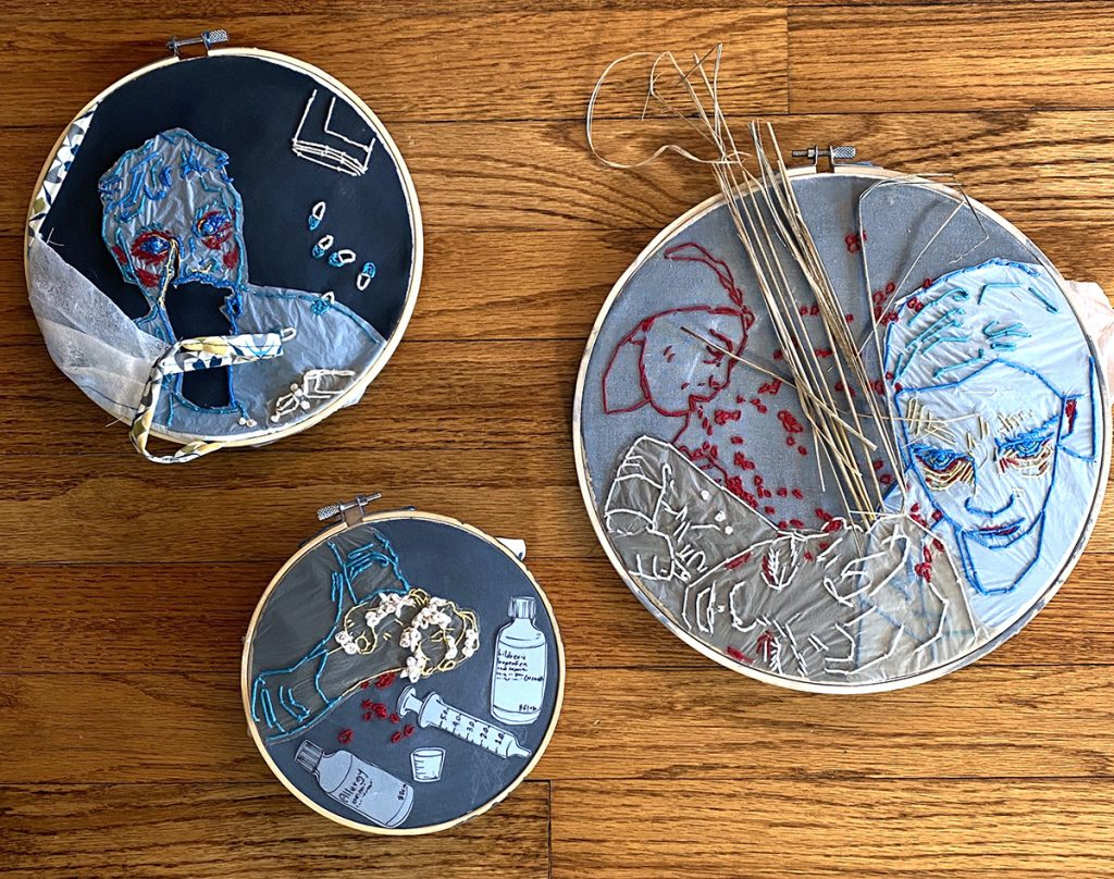 three final works embroidery hoops