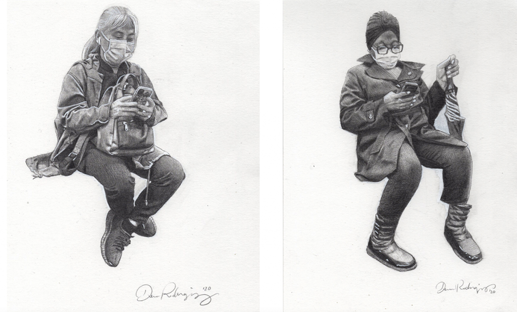two portraits of women with masks and phones