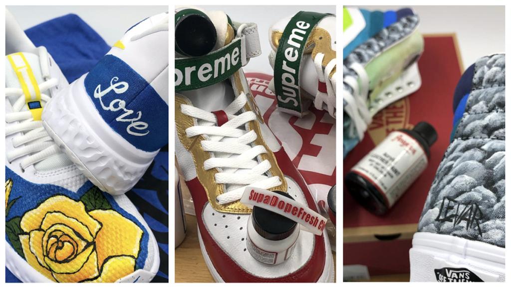 three pairs handpainted sneakers
